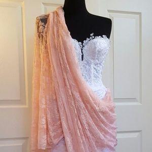 Bollywood Glam White Lace Corset Wedding Saree